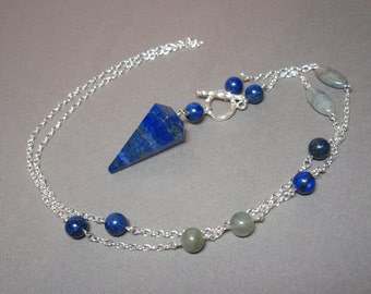 Lapis Lazuli and Labradorite Gemstone Pendulum Necklace Sterling Silver Clasp
