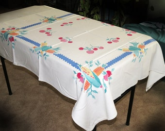Vegetable Tablecloth Cotton Vintage 45 x 45