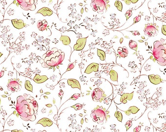Chinois Rose - White - Chinoiserie Chic by Dena Designs PWDF199- Available in Fat Quarters, Half Yards and Yards
