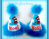 TWINS Birthday Hat,  Cat in the Hat Birthday Hat, 2 Hats, Thing One, Thing Two First Birthday Hat, 2nd Birthday Hat by Gingham Bunny