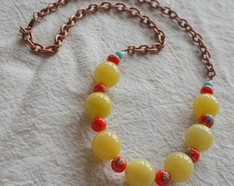 Yellow jade and vintage Japanese millefiori bead necklace, adjustable length