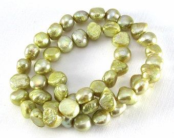 Chartreuse Baroque Freshwater Pearls - 9-11mm - 16-inch Strand