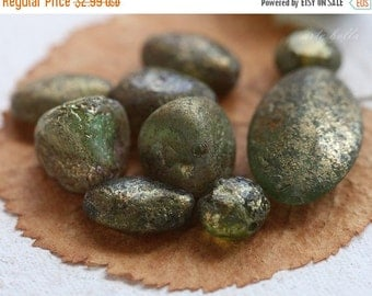 10% off METALLIC MOSSY STONES .. 10 Picasso Czech Glass Beads (3424-10)