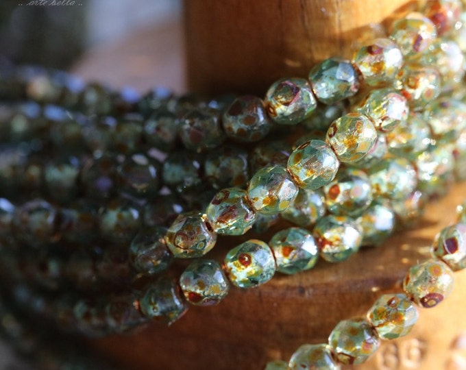 RIVER PEBBLES .. 50 Premium Picasso Faceted Czech Glass Beads 4mm (4843-st)