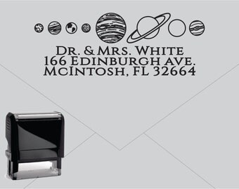 Self Inking Return Address Stamp * Custom Address Rubber Stamp (E420) Space Planets