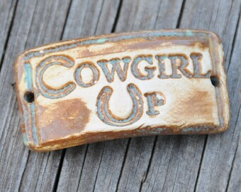 Cowgirl Up...a handmade pottery cuff bead with an attitude in sea green