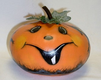 Small Gourd Halloween Jack-O-Lantern - Hand Painted