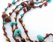 Long Necklace 7X Wrap Bracelet Beaded Necklace Crochet Necklace Glass Stone Bead Necklace Teal Copper Red Brown Turquoise - MADE TO ORDER
