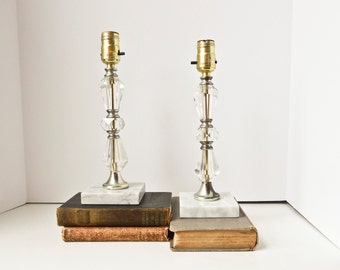2 Crystal Table Lamps, Marble Bases, Bedside Dresser Lamps, Pair of Vintage Crystal Lamps