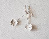 Flower Dangle Earrings, Sterling Silver, Modern, Bride and Bridesmaid, Woodland, Wedding, Dangle & Drop Earrings