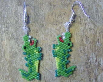 Alligator Earrings Hand Made Seed Beaded