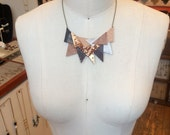Brown leather triangles mosaic necklace
