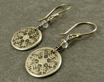 Snowflake Earrings, Fine Silver Jewelry, PMC Gifts for Her