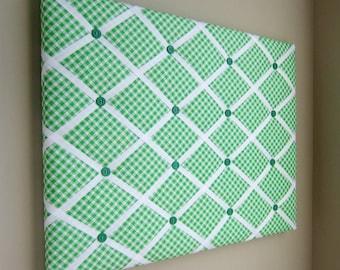 16x20 Memory Board, Bow Holder, Bow Board, Vision Board, Photograph Holder, Ribbon Board, Green & White Check Bias