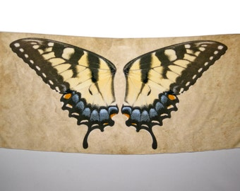 Yellow Tiger Swallowtail Butterfly Wrap, Handmade Scarf, Papilio Glaucus, Made to Order