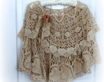 Bridal Cape Vintage Laces Victorian Inspired Clothing Two Layers Tea Stained Shabby Boho Cape Holiday Cape
