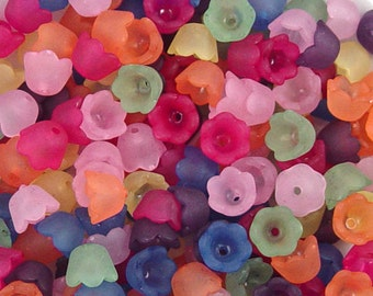 Acrylic Bead 100 Bell Tulip Flower Frosted 10mm x 6mm (1012luc10m2)