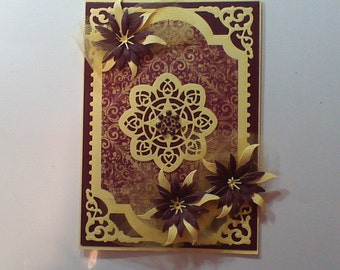 Handmade Greeting Card Sympathy maroon and yellow with flowers