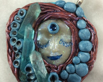 Kabbalations Turquoise Aqua Blue Crystal Goddess Faerie Pixie with three Light Blue Crystal Points Polymer Clay Pendant