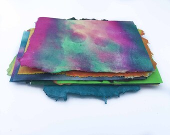 Handmade Paper Pack Small Scrap Colorful Assortment Abstract Painted Batik DIY Paper Projects White Circles