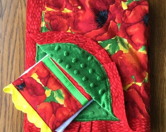 Red California Poppy Minky Blanket and Burp Cloth Set...Can Be Personalized