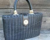 RESERVED Vintage Basket Purse or Handbag, Handmade, Black Basket Purse, Large Summer Bag or Purse