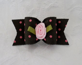 "7/8"" Brown and Pink Swiss Dot Rosebud Dog Bow"