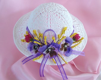 Doll Hat for American Girl Doll White Purple Yellow Doll Hat Crocheted Doll Hat 18 Inch Doll Summer Hat Am Girl Doll Hat Summer Accessory