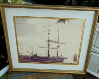 William Plante Sepia Toned Photograph Framed Bay Water Sailing Vessel / Chesapeak Bay / Maritime Art Work