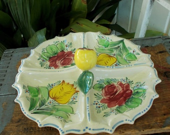 Majolica Style Yellow Tulip Pink Rose Apple Handle Divided Dish / Made In Japan 1940s Serving Dish / Vintage Kitchen And Dining