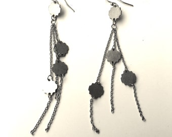stainless steel comet earrings - long dangle chain earrings -
