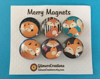 "Set of Magnets   Fridge Magnets  Glass Magnets  ""Whimsical Foxes"""