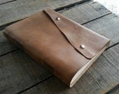 Brown Large Leather Journal With Snap Closure, Blank Hand Dyed Brown Distressed Leather Sketchbook, Leather Wedding Guest Book, Art Journal