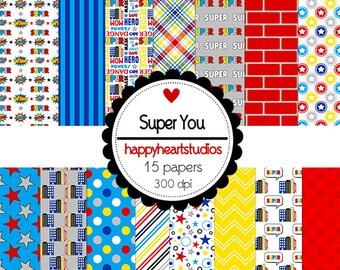 Digital Scrapbook  SuperYou-INSTANT DOWNLOAD