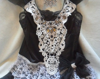 50% OFF TUNIC Top Holidays Cami Romantic Rhinestones Lace - Vintage Cami Make Over - Black and Gray