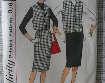 """1960s Skirt & Jacket - 34"""" Bust - Simplicity 3715 - Vintage Retro Sewing Pattern"""