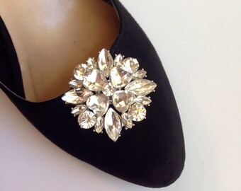 Wedding Bridal Party Silver Rhinestone Shoe Clips Set Of Two