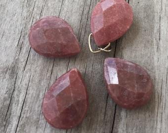 RHODONITE Teardrop GEMSTONE Beads (4) Faceted Pink Rhodonite Pendant beads Side Drilled