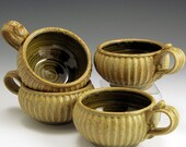 SOUP MUGS pottery stoneware Ash Glaze and  Amber Celadon glaze  w/Slip-Trailed Set Of 4
