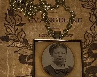 Antique Victorian Civil War Era Tin Type Pendant Necklace Pretty Lady with Original Paper Frame