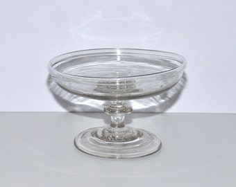 Antique New England Glass Small Compote with Folded Rim