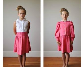 ON SALE 1960s Strawberry Linen Jacket & Dress Set~Size 8/10