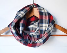Plaid Infinity Scarf Navy and red Scarf Loop Scarf Unisex Scarf Womens Scarf Flannel Scarf Winter Scarf