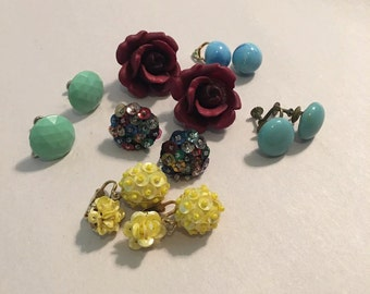 Vintage clip and screw on earrings collection