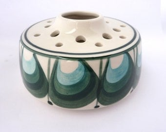 Flower Bowl From Jersey Pottery, With Celadon / Sea Green / Light Blue Decoration