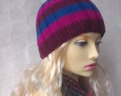 KNITTING PATTERN/ SAM Striped Knit Beanie Hat Pattern /Easy Knit in the Round/Aran Worsted Ribbed Hat Pattern/ Womans Striped Hat/Girls Hat