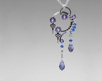Purple Swarovski Crystal Steampunk Pendant, Blue Swarovski, Crystal Necklace, Steampunk Jewelry, Youniquely Chic, Amphitrite v14