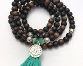 wood mala necklace wrap bracelet with tassel and charm customizable