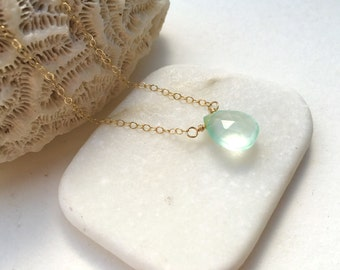 Green Chalcedony Drop Necklace