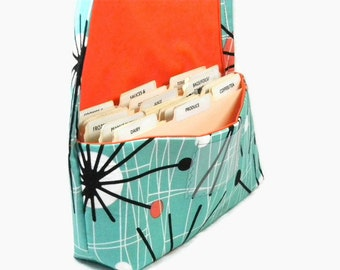 Coupon Organizer, Coupon Holder, Ready to Ship,Receipt Holder, Coupon Caddy, Coupon Wallet, Atomic Orange and Turquoise Fabric